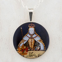 Queen Elizabeth in Coronation Robes Sterling Pendant