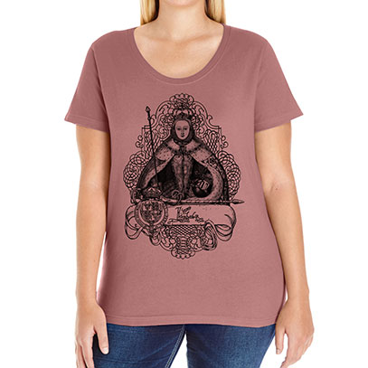 Queen Elizabeth I Curvy Fit Plus Size Tee V-neck Scoop and Tank Style