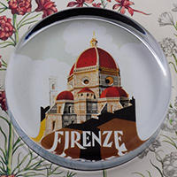 Firenze Italy Glass Round Paperweight