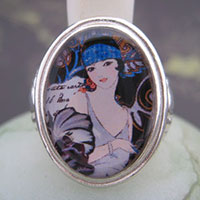 Flapper Deco Girl Cameo Style Ring