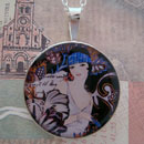 Flapper Deco Girl Sterling Pendant