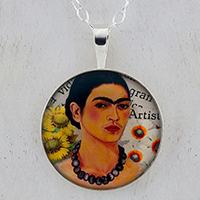 Frida with Flowers Sterling Pendant