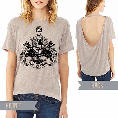 Frida Viva La Vida Alternative pony open back t-shirt