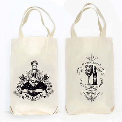 Frida Viva La Vita Organic Cotton Liquor and Wine Bottle Tote Bag