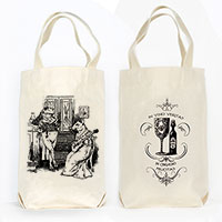 Frog and Mouse Anthropomorphic Organic Cotton Liquor and Wine Bottle Tote Bag