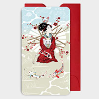 Geisha and lucky cat Mini Gift Cards