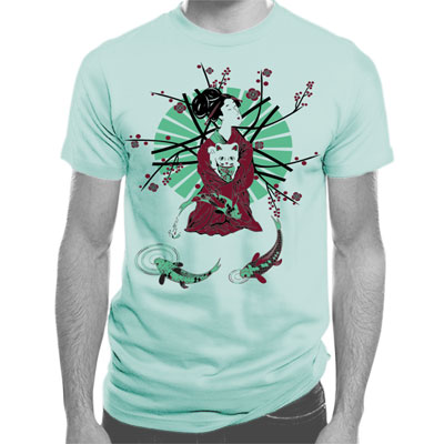 Geisha and Lucky Cat Men's Unisex T-shirt