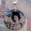 Geisha with Kitty Cat Sterling Pendant