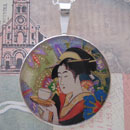 Geisha with Tea Sterling Pendant