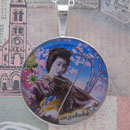Geisha with Violin Sterling Pendant