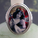 Bohemian Girl with Mandolin Cameo Style Ring