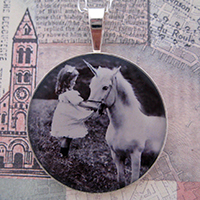 Girl and Her Unicorn Sterling Pendant