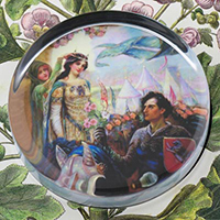 Guinevere and Lancelot Glass Round Paperweight