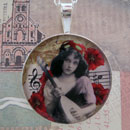 Bohemian Girl with Mandolin Sterling Pendant