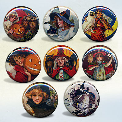 Halloween Witch Magnet and Badge Sets