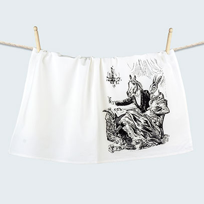 Horse and Rabbit Party Animal Dressed Anthropomorphic Flour Sack Towel