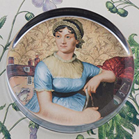 Jane Austen Glass Round Paperweight