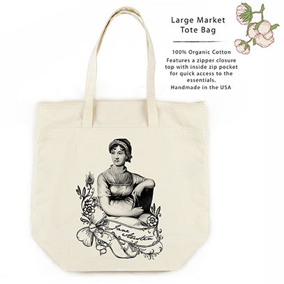 Jane Austen Organic Cotton Large Market Tote Bag
