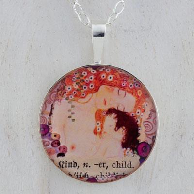Klimt Mother and Child Sterling Pendant