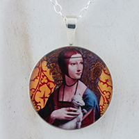Lady With Ermine DaVinci Sterling Pendant