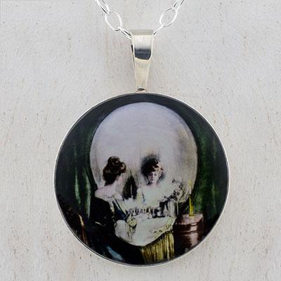 All Is Vanity Skull sterling pendant