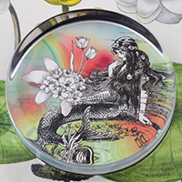 Mermaid La Luxure Glass Round Paperweight
