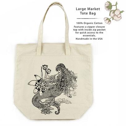 Mermaid La Luxure Organic Cotton Large Market Tote Bag