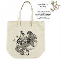 Mermaid La Luxure Organic Cotton Large Market Tote Bag