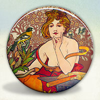 Mucha Woman with Bird