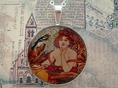 Mucha Woman with Bird Sterling Pendant