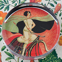 Onyx Bicycle Girl Paperweight