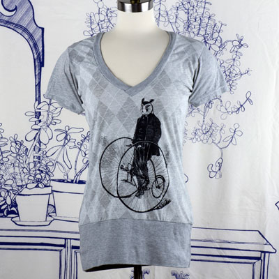 Gentleman Owl on a Bicycle Argyle Woman's T-shirt - TIMT