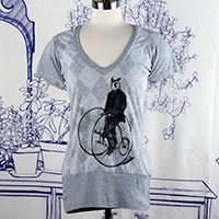 Gentleman Owl on a Bicycle Argyle Woman's T-shirt -TIMT