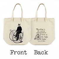Gentleman Owl on a Bicycle Organic Cotton Large Market Tote Bag