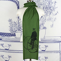 Gentleman Owl on a Bicycle Scarf