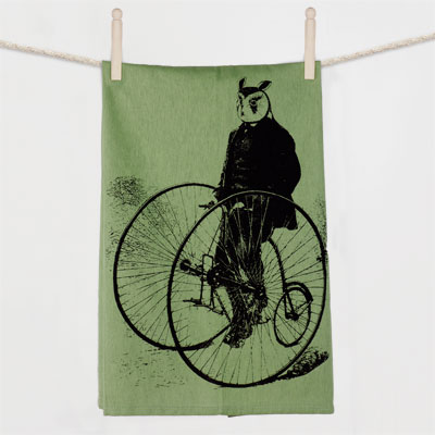 Gentleman Owl on a Bicycle Flour Sack Towel