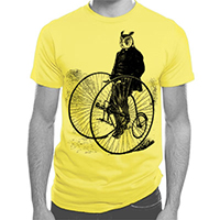 Gentleman Owl on a Bicycle Large Men's or Unisex T-shirt