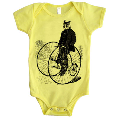 Gentleman Owl on a Bicycle one piece 6-12 months - TIMT