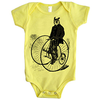 Gentleman Owl on a Bicycle one piece - TIMT