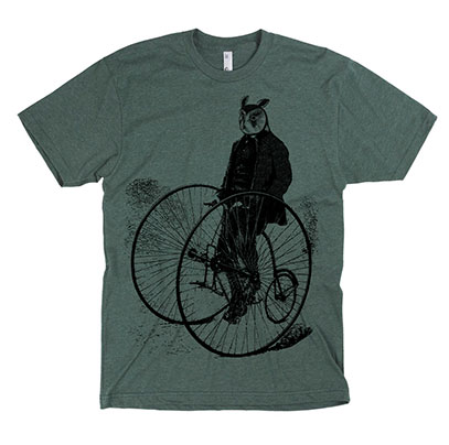 Gentleman Owl on a Bicycle Men's or Unisex T-shirt