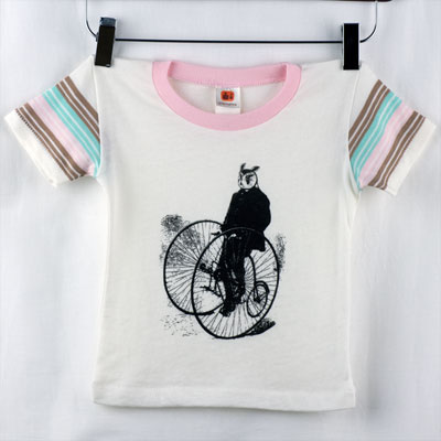 Gentleman Owl on a Bicycle Kids Striped Sleeve Tee - TIMT