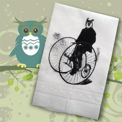 Gentleman Owl on a Bicycle
