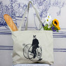 Gentleman Owl on a Bicycle Large Tote Bag