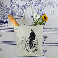 Gentleman Owl on a Bicycle Tote Bag -TIMT