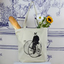 Gentleman Owl on a Bicycle Tote Bag