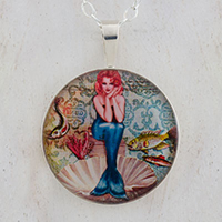Mermaid Pin Up Sterling Pendant