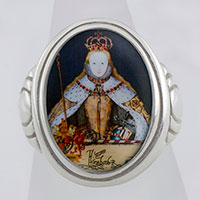 Queen Elizabeth in Coronation Robes Cameo Style Ring