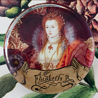 Queen Elizabeth Rainbow Portrait Tudor I Glass Round Paperweight