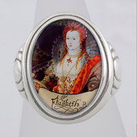 Queen Elizabeth l Rainbow Portrait Cameo Style Ring