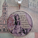 Red Riding Hood Antique Illustration Sterling Pendant